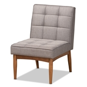 Baxton Studio Sanford Mid-Century Modern Grey Fabric Upholstered and Walnut Brown Finished Wood Dining Chair