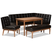 Baxton Studio Sanford Mid-Century Modern Dark Brown Faux Leather Upholstered and Walnut Brown Finished Wood 5-Piece Dining Nook Set