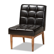 Baxton Studio Sanford Mid-Century Modern Dark Brown Faux Leather Upholstered and Walnut Brown Finished Wood Dining Chair