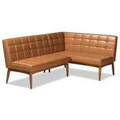 Baxton Studio Sanford Mid-Century Modern Tan Faux Leather Upholstered and Walnut Brown Finished Wood 2-Piece Dining Nook Banquette Set