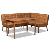 Baxton Studio Sanford Mid-Century Modern Tan Faux Leather Upholstered and Walnut Brown Finished Wood 3-Piece Dining Nook Set