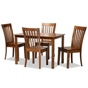 Baxton Studio Erion Modern and Contemporary Walnut Brown Finished Wood 5-Piece Dining Set