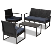 Baxton Studio Greta Modern and Contemporary Dark Blue Fabric Upholstered and Black Finished Metal and Synthetic Rattan 4-Piece Patio Set