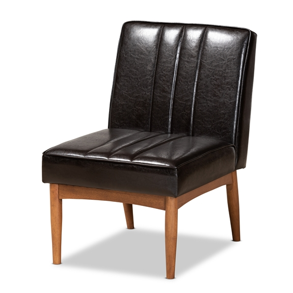 Baxton Studio Daymond Mid-Century Modern Dark Brown Faux Leather Upholstered and Walnut Brown Finished Wood Dining Chair