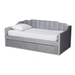 Baxton Studio Lennon Modern and Contemporary Grey Velvet Fabric Upholstered Twin Size Daybed with Trundle