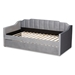 Baxton Studio Lennon Modern and Contemporary Grey Velvet Fabric Upholstered Twin Size Daybed with Trundle - IECF9172-Silver Grey Velvet-Daybed-T/T