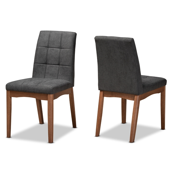 Baxton Studio Tara Mid-Century Modern Transitional Dark Grey Fabric Upholstered and Walnut Brown Finished Wood 2-Piece Dining Chair Set