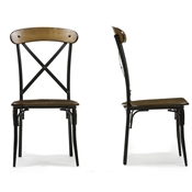 Baxton Studio Broxburn Light Brown Wood & Metal Dining Chair (Set of 2)