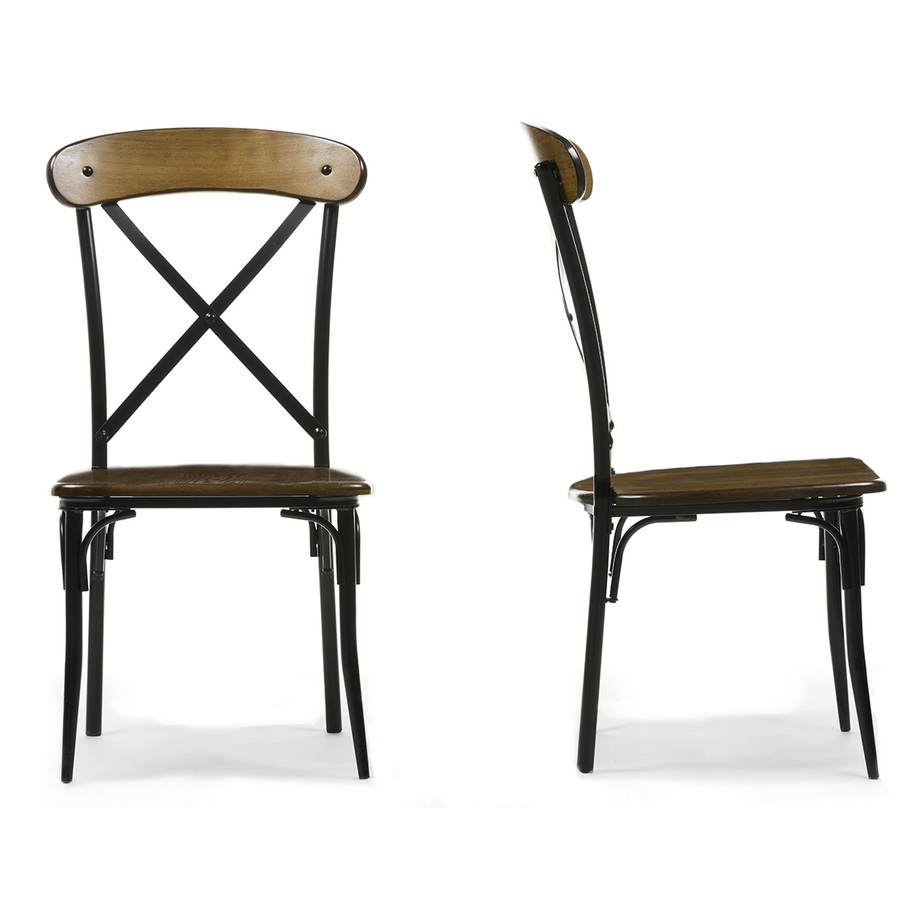 Baxton Studio Broxburn Light Brown Wood Metal Dining Chair Set Of 2