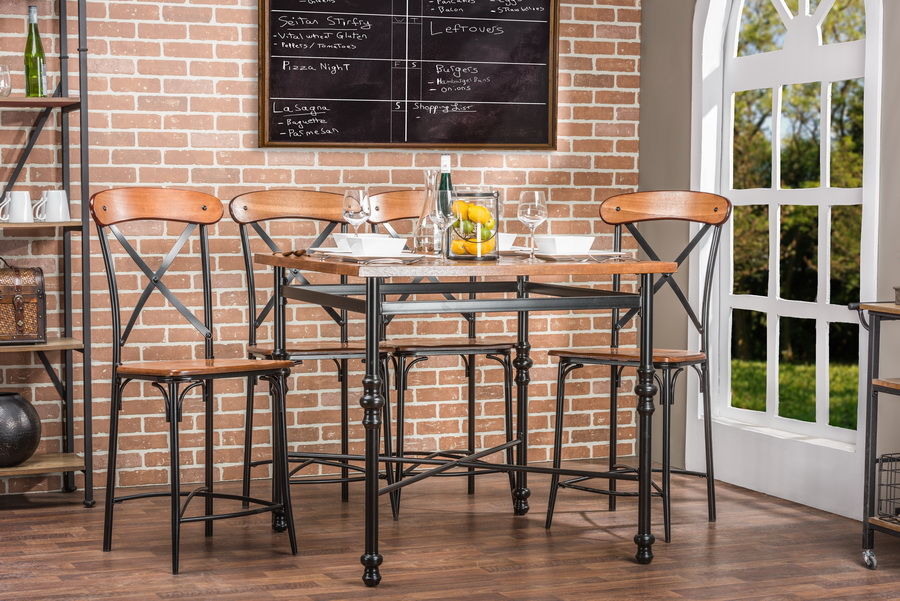 Baxton Studio Broxburn Light Brown Wood Metal Pub Table
