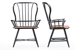 "Baxton Studio Longford ""Dark-Walnut"" Wood and Black Metal Vintage Industrial Dining Arm Chair (Set of 2)"