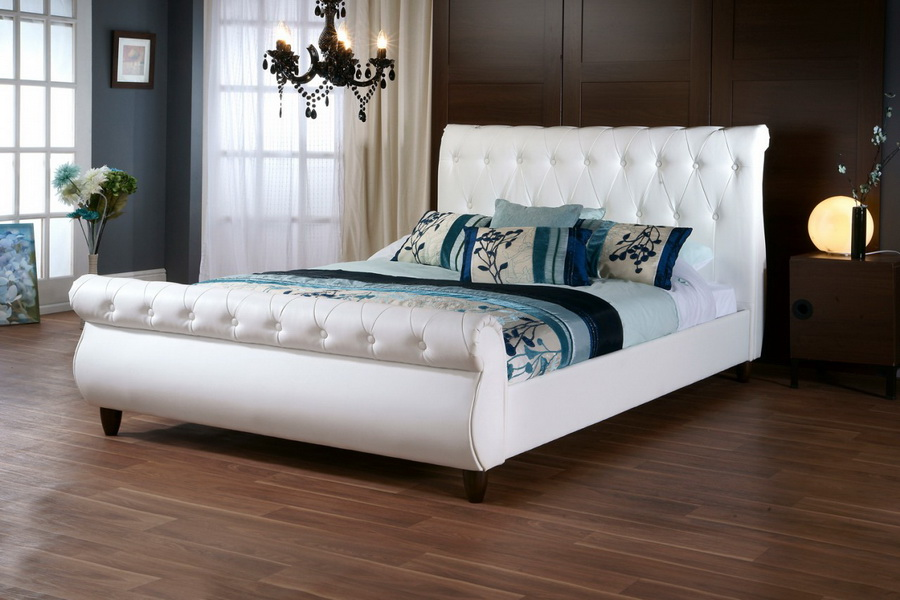 Baxton Studio Ashenhurst White Modern Sleigh Bed With Upholstered Headboard Queen Size Iecf8201b