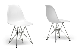 White Molded Plastic Wire Base Side Chair Set of 2