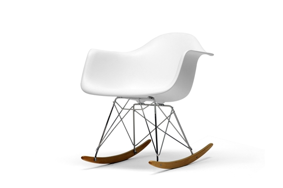 White Molded Plastic Shell Rocking Chair