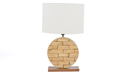Baxton Studio Budalin Wood & White Linen Lamp Baxton StudioBudalin Wood & White Linen Lamp, FurnitureLighting