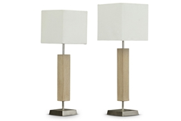 Baxton Studio Esquina Wood and Fabric Lamp Set of 2 Baxton StudioEsquina Wood and Fabric Lamp Set of 2, FurnitureLighting