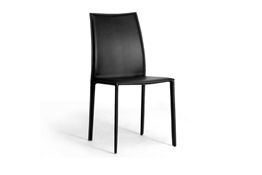 Set of 2 Rockford Black Leather Dining Chairs