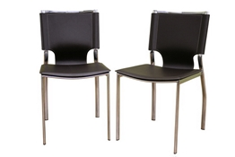 Dark Brown Leather Dining Chair with Chrom Frame Set of Two