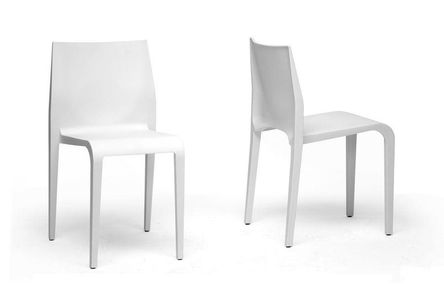 Baxton Studio Blanche Modern White Molded Plastic Dining Chair Set Of 2 Iedc
