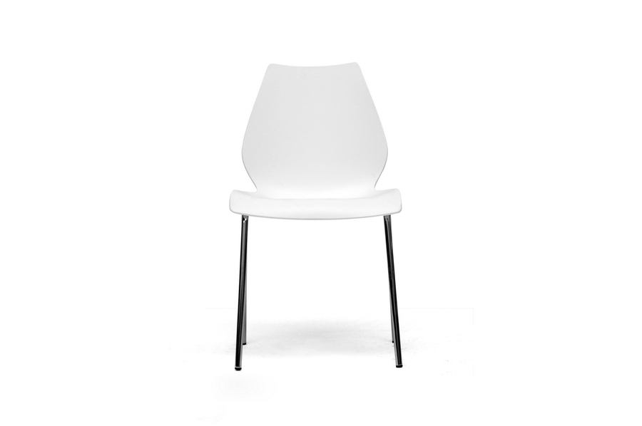 Overlea White Plastic Modern Dining Chair Set Of 2 Iedc 7a