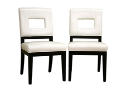 Faustino Cream Leather Dining Chair Set of 2 Bianca White Leather Dining Chair Set of 2, IEY-765-FU155-Set, compare Bianca White Leather Dining Chair Set of 2, best price on Bianca White Leather Dining Chair Set of 2, discount Bianca White Leather Dining Chair Set of 2, cheap Bianca White Leather Dining Chair Set of 2