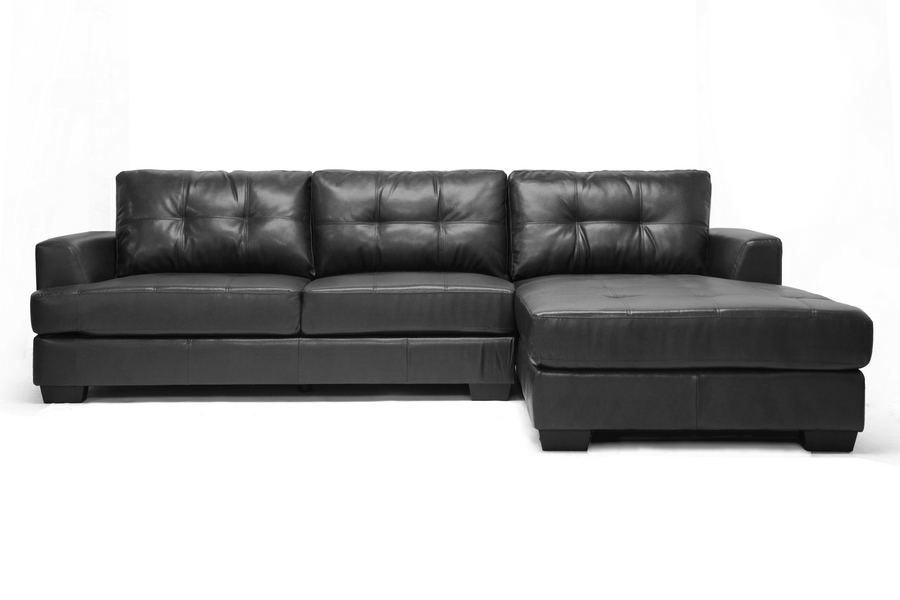 Baxton Studio Dobson Black Leather Modern Sectional Sofa Interior Express