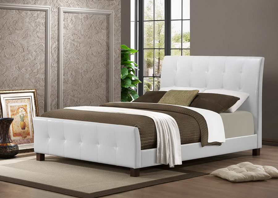 Baxton Studio Amara White Modern Bed Full Size