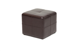 Nox Dark Brown Bonded Leather Cube Ottoman