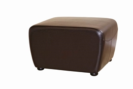Mendozza Full Leather Ottoman in Dark Brown