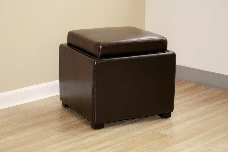 Tate Brown Leather Storage Ottoman With Reversible Wood