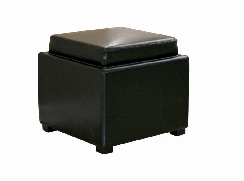 Tate Black Leather Storage Ottoman with Reversible Wood Tray