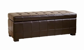 Walter Tufted Leather Storage Ottoman in Brown