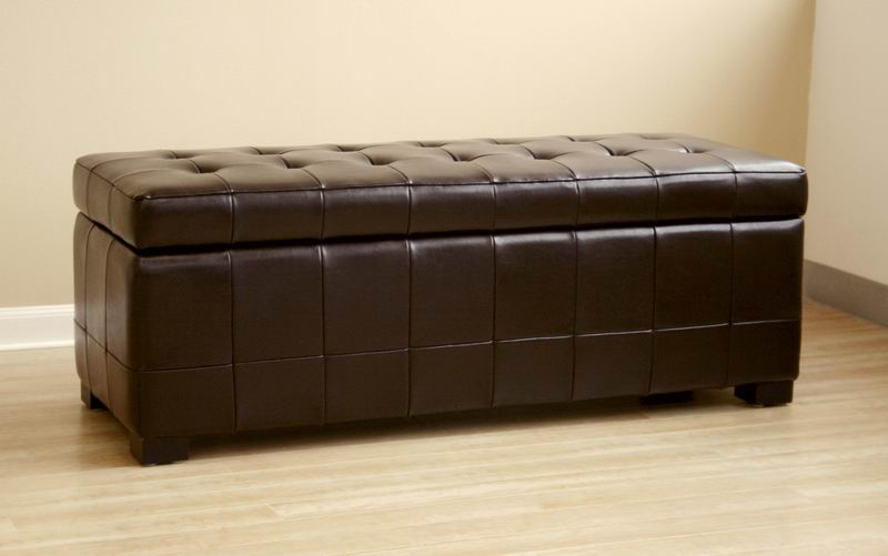 Walter Brown Leather Tufted Large Storage Bench Ottoman Interior