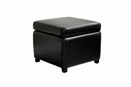 Linden Full Leather Storage Ottoman in Black