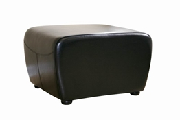 Mendozza Full Leather Ottoman in Black