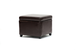 Linden Full Leather Storage Ottoman in Dark Brown