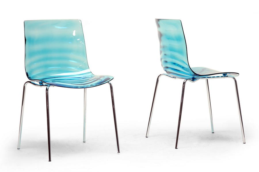 Baxton Studio Marisse Blue Plastic Modern Dining Chair Set Of 2 Iepc