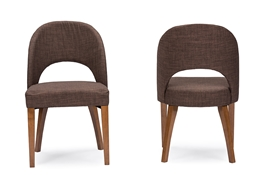 Baxton Studio Lucas Mid-Century Style Brown Fabric  Dining Chair (Set of 2)