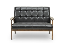 Baxton Studio Mid-Century Masterpieces Loveseat-Brown