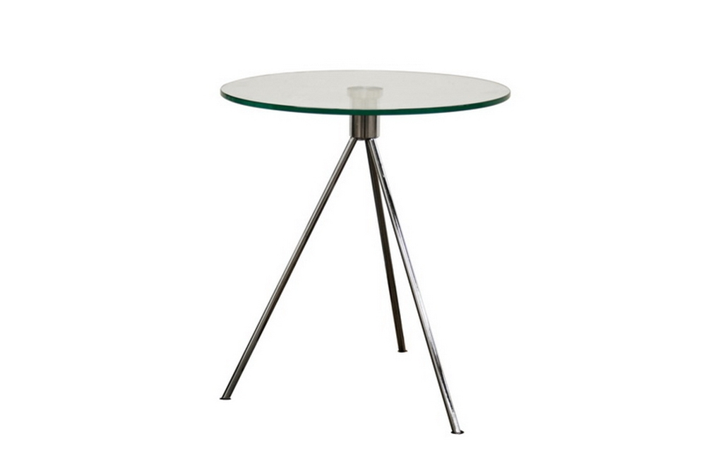 Triplet Round Glass Top End Table With Tripod Base Interior Express