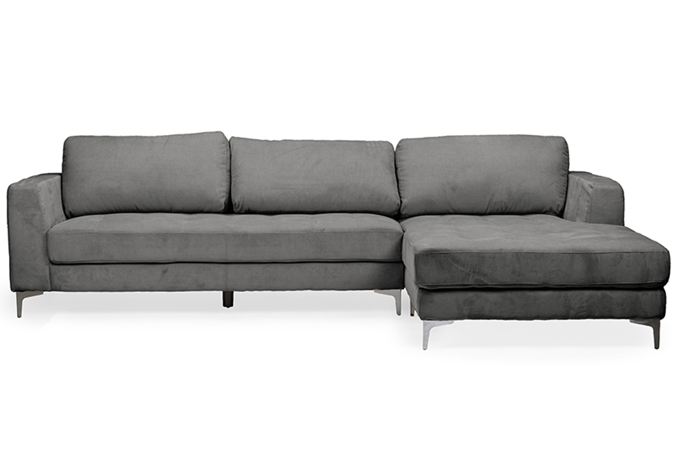 Baxton Studio Agnew Contemporary Grey Microfiber Right Facing Sectional Sofa