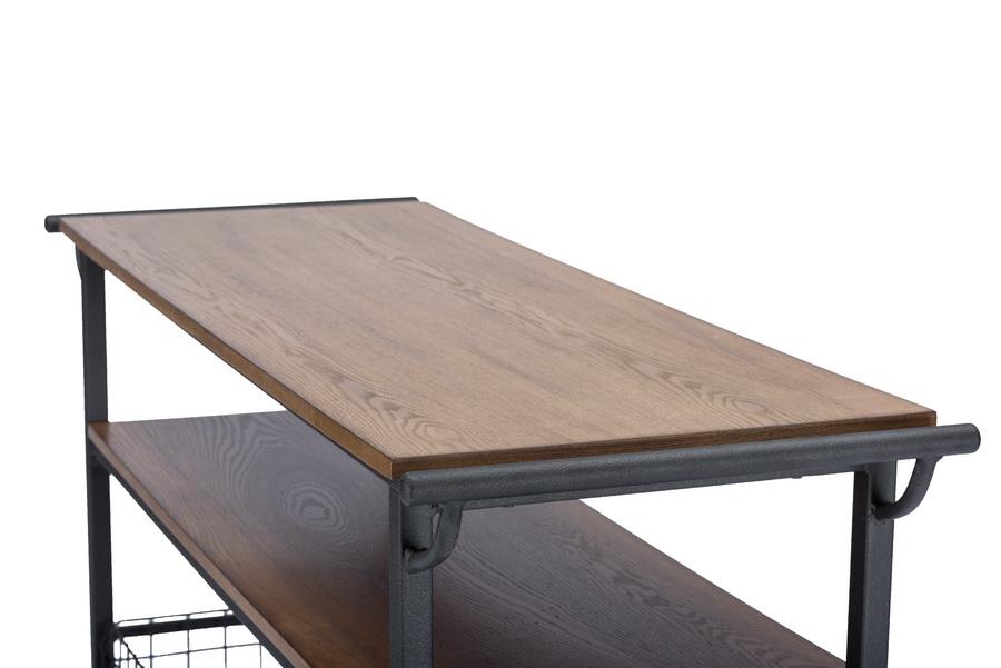Baxton Studio Lancashire Brown Wood Metal Kitchen Cart Ieylx 0001