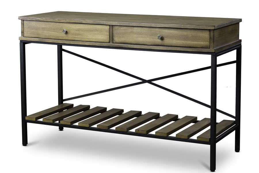 Baxton Studio Newcastle Wood And Metal Console Table Criss Cross Ieylx 0003