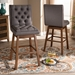 Baxton Studio Gregory Modern Transitional Grey Fabric Upholstered and Walnut Brown Finished Wood 2-Piece Swivel Bar Stool Set - IEBBT5372-Grey/Walnut-BS