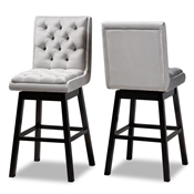 Baxton Studio Gregory Modern Transitional Light Grey Velvet Fabric Upholstered and Dark Brown Finished Wood 2-Piece Swivel Bar Stool Set