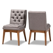 Baxton Studio Makar Modern Transitional Grey Fabric Upholstered and Walnut Brown Finished Wood 2-Piece Dining Chair Set