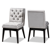 Baxton Studio Makar Modern Transitional Light Grey Fabric Upholstered and Walnut Brown Finished Wood 2-Piece Dining Chair Set