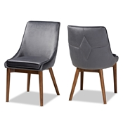 Baxton Studio Gilmore Modern and Contemporary Grey Velvet Fabric Upholstered and Walnut Brown Finished Wood 2-Piece Dining Chair Set