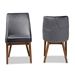 Baxton Studio Gilmore Modern and Contemporary Grey Velvet Fabric Upholstered and Walnut Brown Finished Wood 2-Piece Dining Chair Set - IEBBT5381-Grey Velvet/Walnut-DC