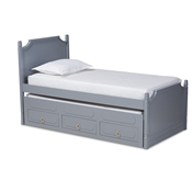Baxton Studio Mariana Traditional Transitional Grey Finished Wood Twin Size 3-Drawer Storage Bed with Pull-Out Trundle Bed